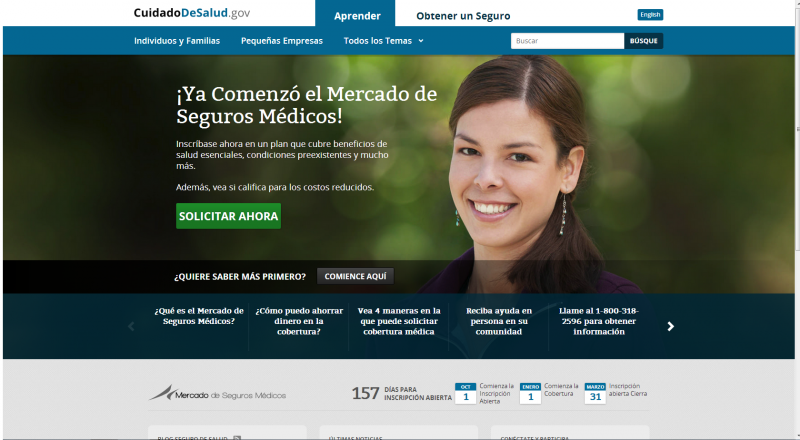This is a screenshot of the Spanish-language version of HealthCare.gov.