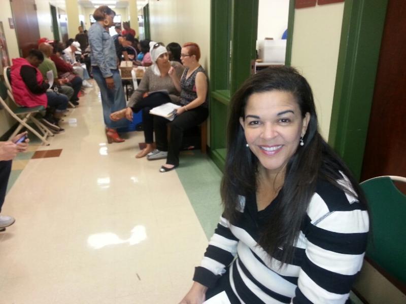 Dr. Maite Casanova at an enrollment event on Monday, March 31.