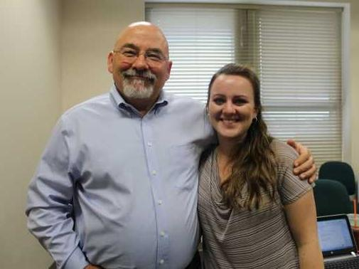 Judge Jerry Brewer is the head of Veterans Court in Orange and Osceola Counties. He poses here with Stephani Quiroz, Veterans Court case manager.