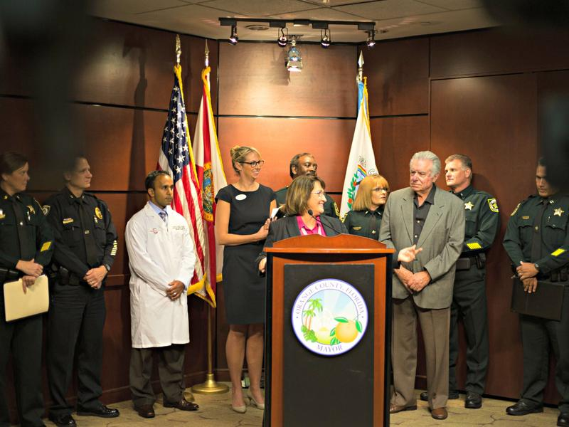 Orange County Mayor Teresa Jacobs on Monday was joined by timeshare  magnate David Siegel at Monday's introduction of a heroin task force.