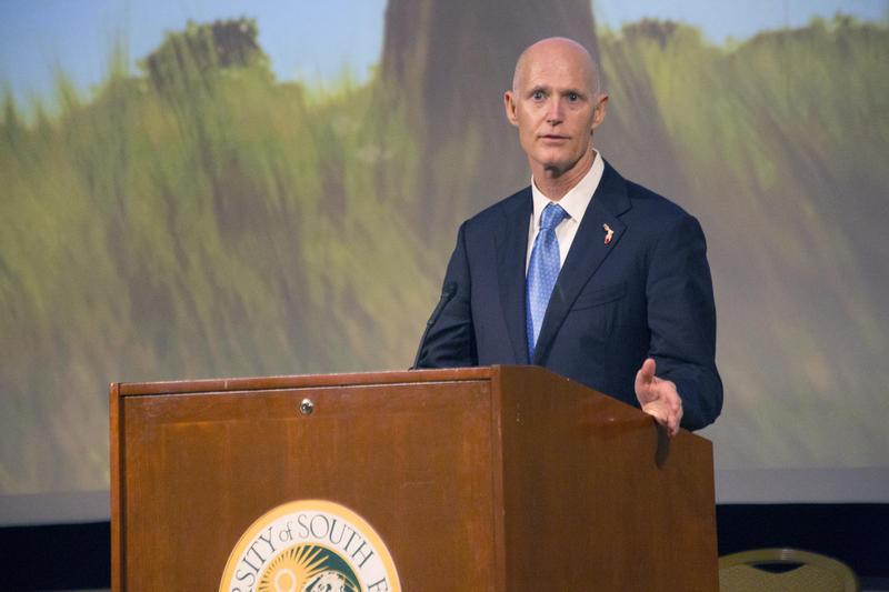 Florida Gov. Rick Scott speaks at the 2015 Human Trafficking Summit at the University of South Florida.