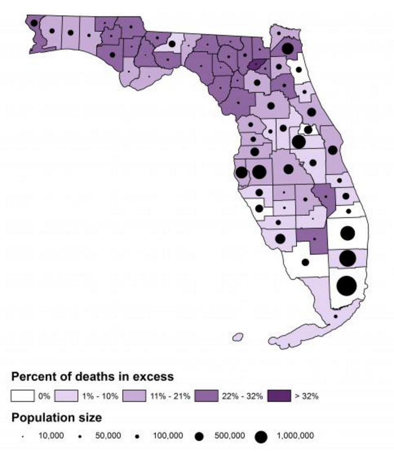 A map of early deaths, controlling for population size, in each of Florida's counties.
