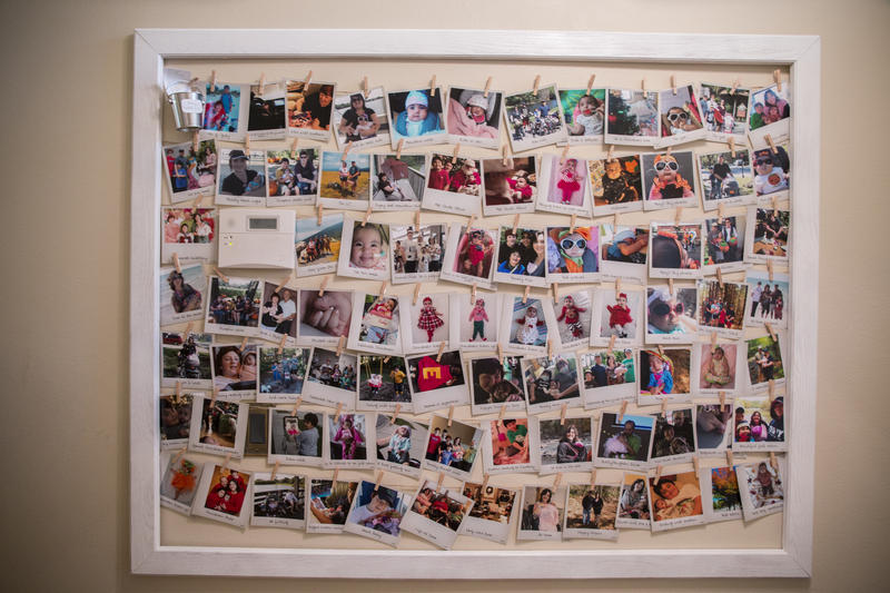 A photo collage at Crystal Hopkins' home shows all the bucket list activities they completed with Everly.