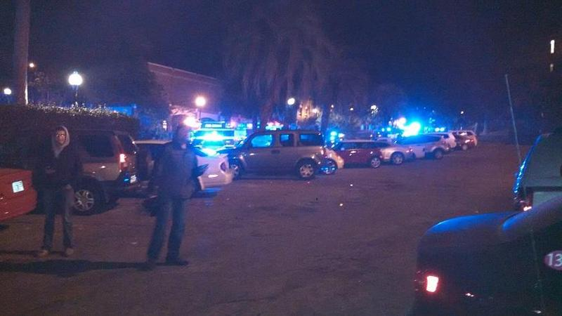 The scene outside the Florida State University Library following the December, 2014 shooting