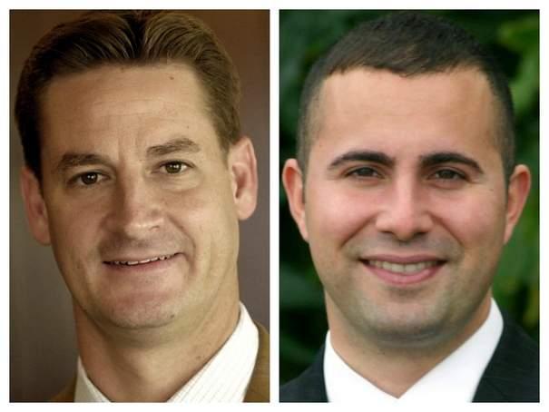 Fla. Rep. Greg Steube, left, and Fla. Sen. Darren Soto.