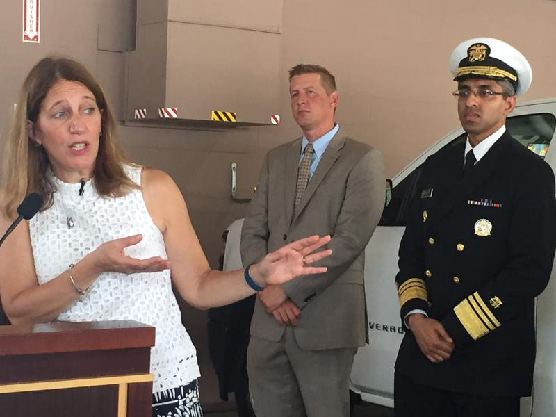 Health and Human Services Secretary Sylvia Burwell and U.S. Surgeon General Vivek Murthy speak after touring a mosquito control building in Orlando.
