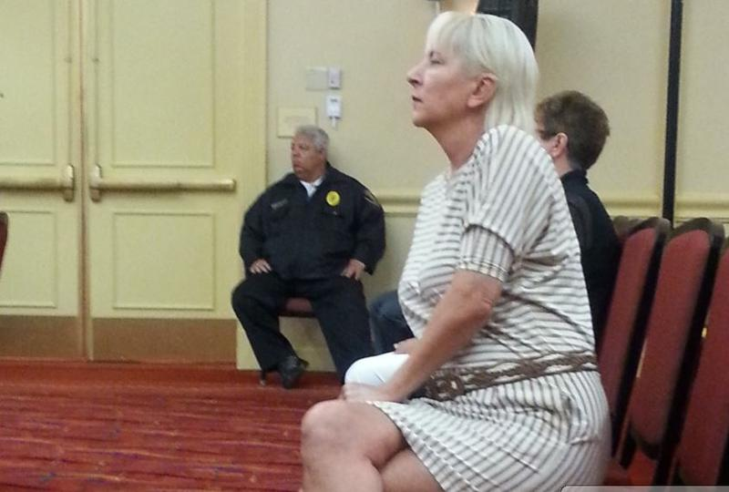 Cheryl Pohl listens during a Florida Board of Medicine meeting.