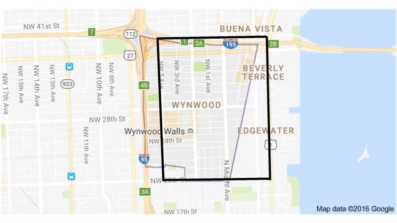 The transmission of Zika occured within the boundaries of the following area: NW 5th Avenue to the west, US 1 to the east, NW/NE 38th Street to the north and NW/NE 20th Street to the south.