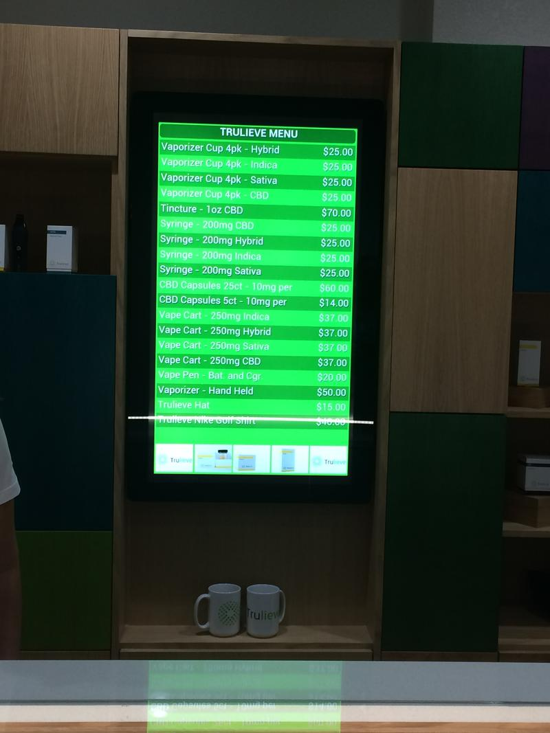 Prices for items at Trulieve's dispensary off U.S. 19 in Clearwater.