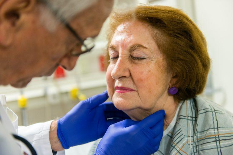 Elsie Castellanos, 77, gets checked by the ER doctor at Mount Sinai Hospital in New York on May 24, 2016. She came in to the geriatric emergency room with abdomen pain.