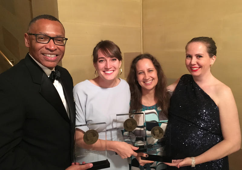 Health News Florida's team collected its Murrow award in New York City on Monday. Pictured from left are Terence Shepherd, WLRN news director; Wilson Sayre, WLRN reporter; Alicia Zuckerman, WLRN editorial director; and WLRN Reporter Sammy Mack.