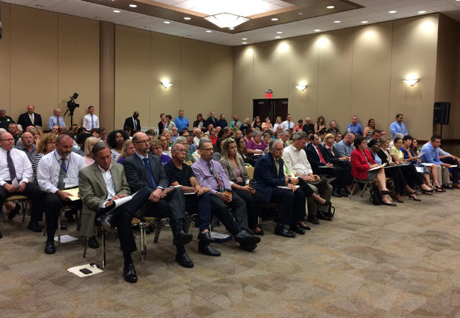 An overflow crowd attended a Manatee County opioid workshop.