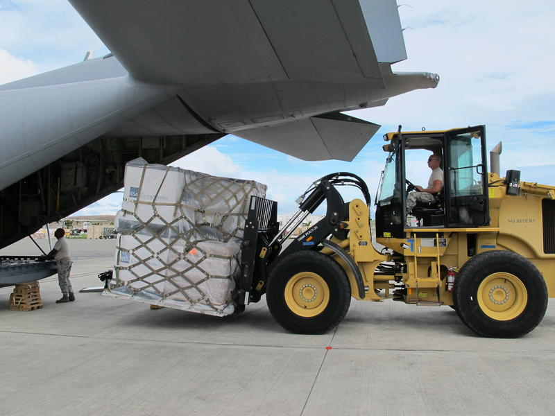 Medical supplies are unloaded from a C130 from MacDill that landed in St. Croix