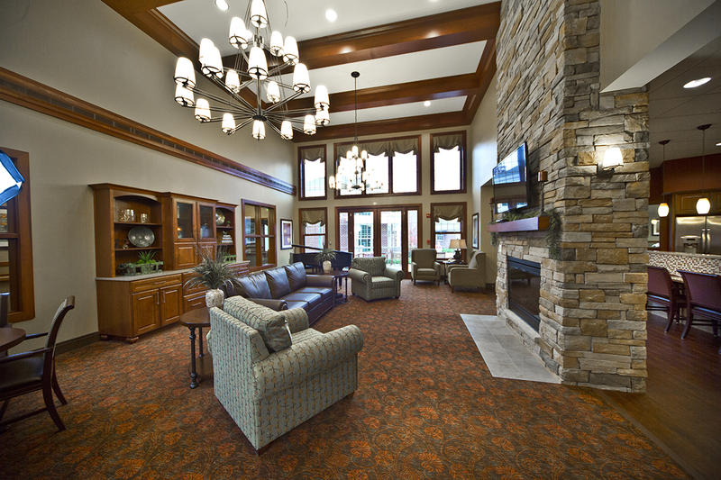 The common area of the nursing home at Westminster Village North in Indianapolis, which has benefited from additional federal Medicaid funding.