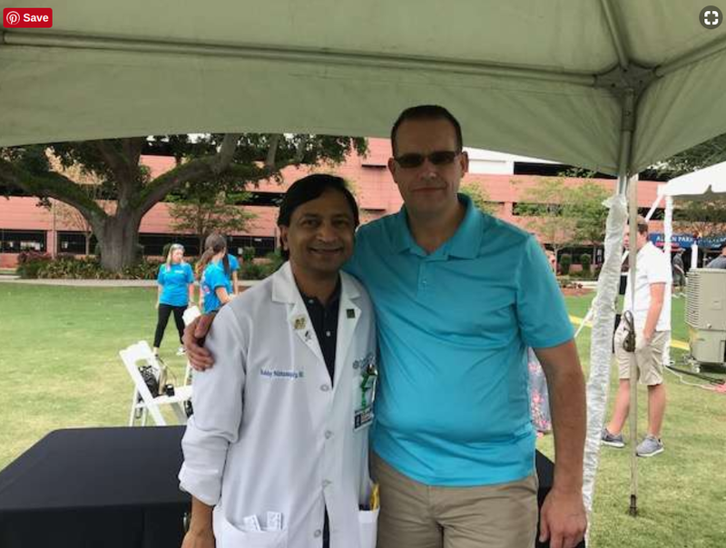 Dr. Bobby Nibhanupudy and Blayne Badura reunite at Florida Hospital's 10th Annual Transplant Reunion.