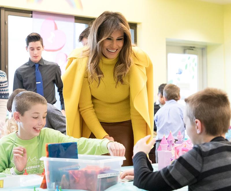 First Lady Melania Trump at Cincinnati Children's Hospital on February 5, 2018