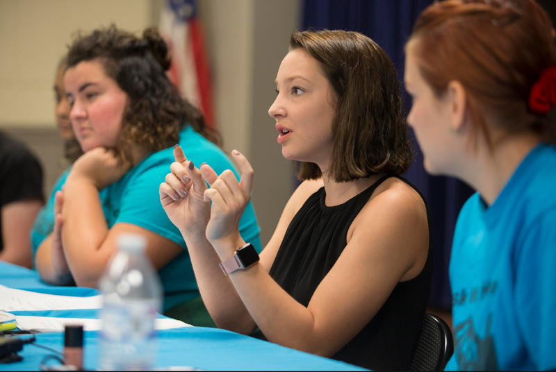 Mia Causey, 17, speaks on a Pasco County Alliance for Substance Abuse Prevention (ASAP) youth-led panel about her opioid addiction recovery and how schools and community leaders can better support teens facing addiction.