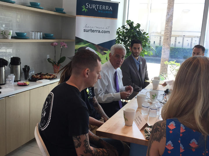 Congressman Charlie Crist held a roundtable discussion with members of the cannabis industry and veterans who take marijuana to help with PTSD and other medical issues.