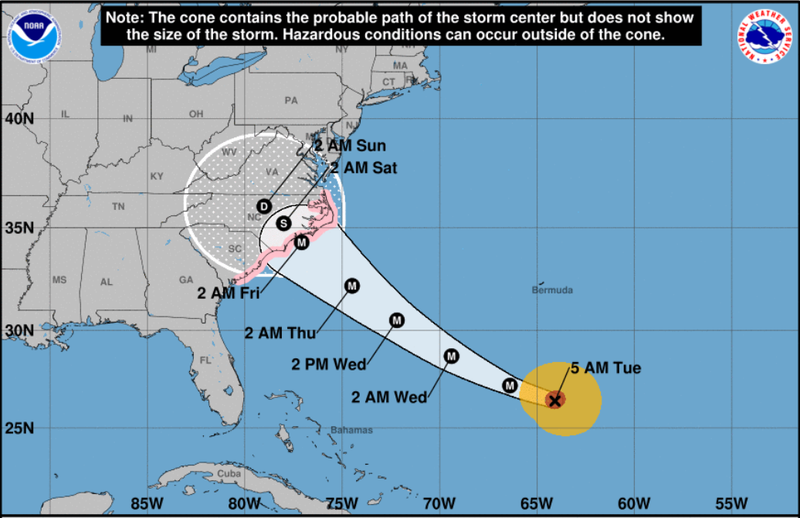 Hurricane Florence was forecast Tuesday morning to strike the Carolinas this week.