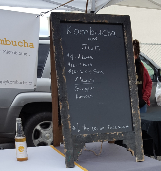Kombucha for sale in the Capital District Tourism Gnome at the Schenectady Greenmarket in New York.