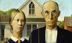 Grant Wood's American Gothic, 1930, Oil on Beaverboard