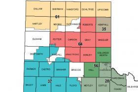 Map of Groundwater Conservation Districts in the TX Panhandle: 61-North Plains (founded 12/1955); 35-Hemphill County (11/4/1997); 64-Panhandle (1/21/1956); 56-Mesquite (11/4/1986); 37-High Plains No.1 (9/29/1951); 28-Gateway (5/3/2003)