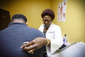 Dr. Rose Okoro, a nurse practitioner, who owns Daystar Family Clinic. She says she has struggled to treat a greater number of Medicaid patients because of state regulations.