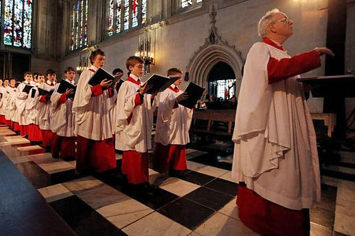 King's College Choir entering the chapel of King's College in Cambridge, England for A Festival of Nine Lessons and Carols