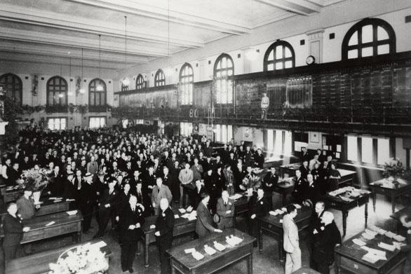 Kansas City Board of Trade trading floor, 1936