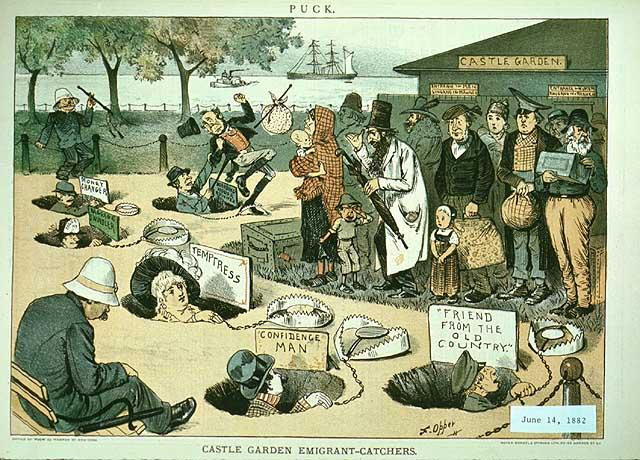 """Castle Garden"" (Puck, June 14, 1882) Castle Garden in Manhattan New York City was the principal point of immigrant disembarkation for 35 years.  The prevalence there of various cheats and swindlers led to the development of Ellis Island in 1892."