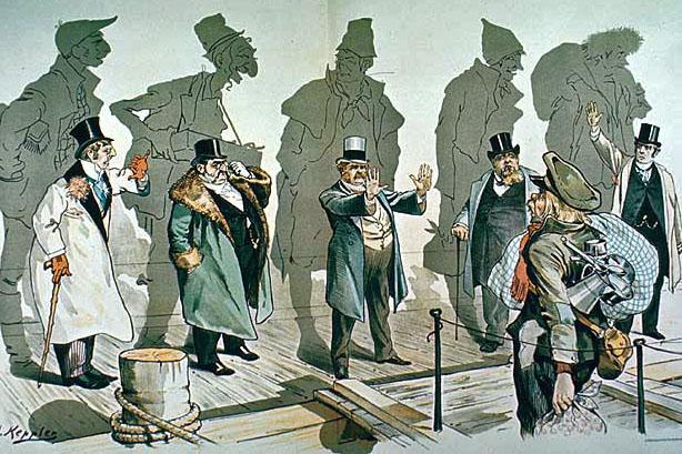 """Looking Backward"" (Puck, January 11, 1893)  This cartoon satirizes those immigrants and their descendants who have made it in America but would deny new immigrants the same opportunity."