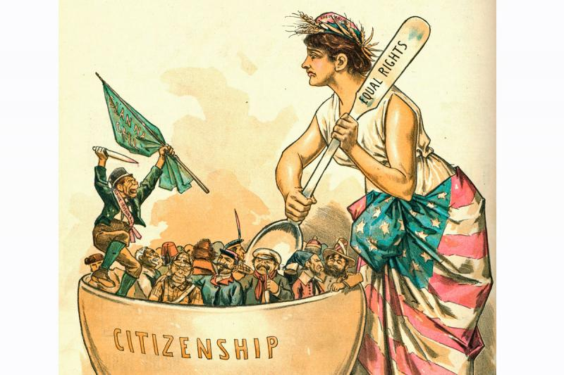 """The Mortar of Assimilation--And the One Element that Won't Mix"" (Puck, June 26, 1889)  The accompanying Puck editorial asks ""What is an American?"" It answers by urging everyone to be American, American born or American made."