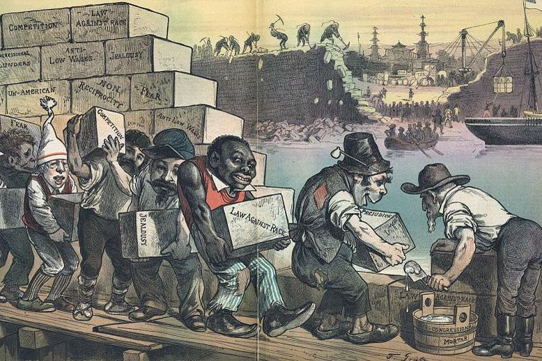 """The Anti-Chinese Wall"" (Puck, date unknown)  Although the most racist caricatures are probably of Chinese, here caricature is utilized sympathetically, showing the irony of European immigrants helping Uncle Sam to prohibit immigration from China."