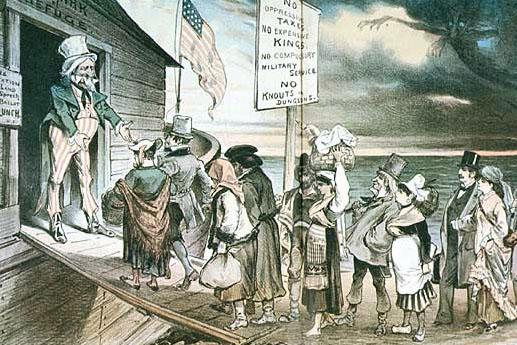 """Welcome to All!"" (Puck, April 28, 1880) This cartoon reflects the welcome extended to immigrants of the 1880s and America as a land of refuge.  The sign to the left of Uncle Sam reads: ""Free education, free land, free speech, free ballot, free lunch."""
