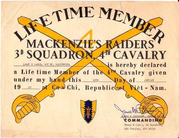 Mackensie's Raiders Certificate