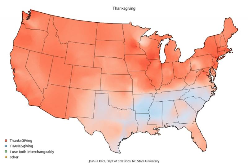 Residents of the Texas Panhandle are more likely to use the more southern pronunciation of emphasizing the THANKS in Thanksgiving (light blue shading).