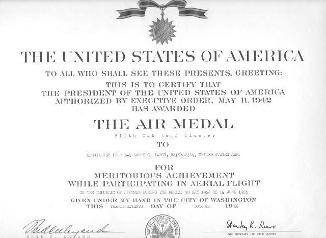 Air Medal Certificate