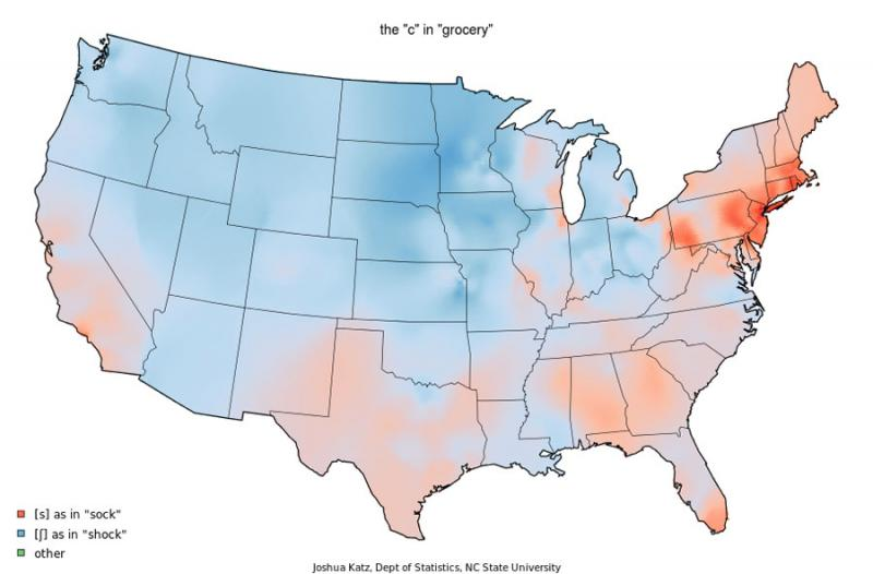 "You're more likely to make a trip to the ""groshery"" store in western Kansas (bluish shading) rather than the ""grosery"" store as you would in the Texas Panhandle (reddish shading)."