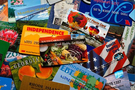 Because SNAP is administered by the states, the program goes under various names across states as reflected in this collection of state issued SNAP EBT cards.  Though cards are issued by state, they can be used across the entire country.