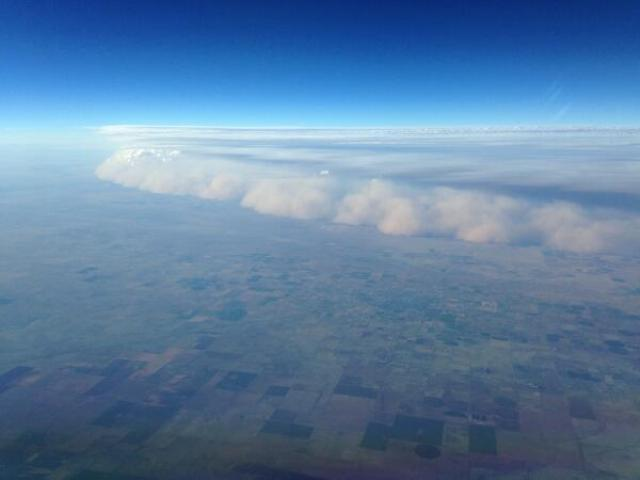 This photo was posted to Twitter.  It was taken from an airplane flying near Amarillo, Texas, apparently at 38,000 feet.