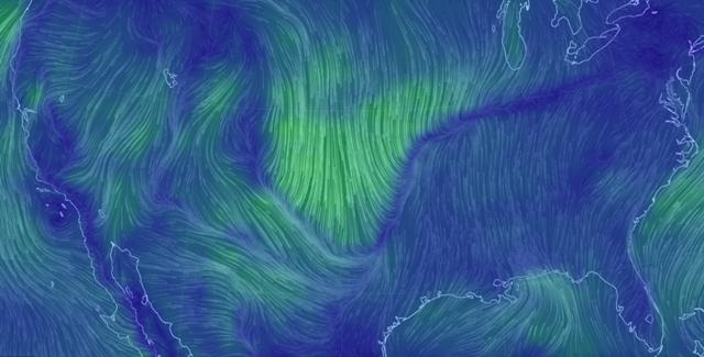 Surface winds associated with the cold front blast to the south across a large part of the U.S. midsection on March 11, as seen in this visualization based on data from supercomputer forecast models.