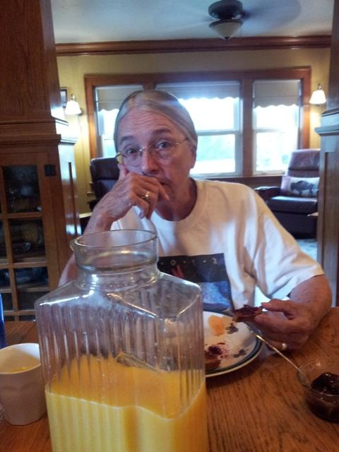 Skip enjoys a great breakfast at the ranch