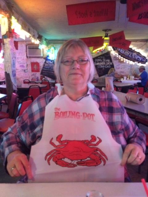 """We love the Boiling Pot!""  Kelly Reece shows off her bib."