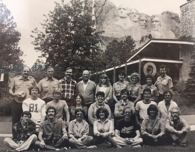 """Former Park Ranger, Kathy Sexson was a guest on Silver Rails, Geography Awareness Show."" Kathy is shown with her colleagues at Mt. Rushmore in 1981.  She is on the top row, third from the right."