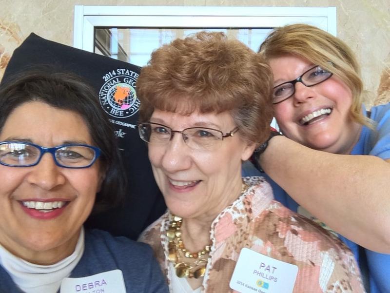 Kansas Geographic Alliance members, Debra Bolton, Pat Phillips, and Lynn Boitano. Professor, Paul and retired teacher, Pat Phillips have recently retired from the Kansas Geographic Alliance.