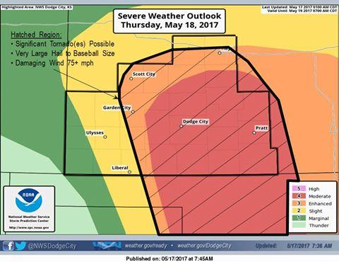 The National Weather Service in Dodge City, Kansas is expecting severe weather in central, south central and southeast Kansas Thursday.