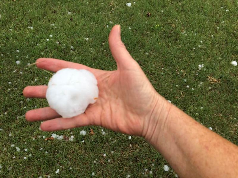 Hail three inches in diameter was reported in and around Satanta, Kansas Tuesday evening.