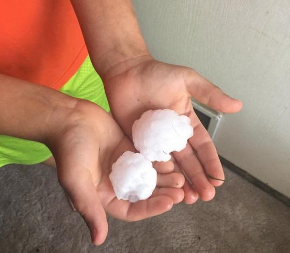 Hail three inches in diameter was reported in and around Holcomb, Kansas Tuesday evening.
