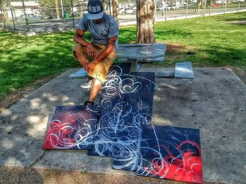 Morin works with a variety of mediums in creating his art.