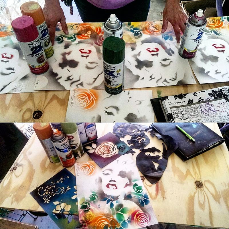 Morin also uses a variety of tools in creating his art.